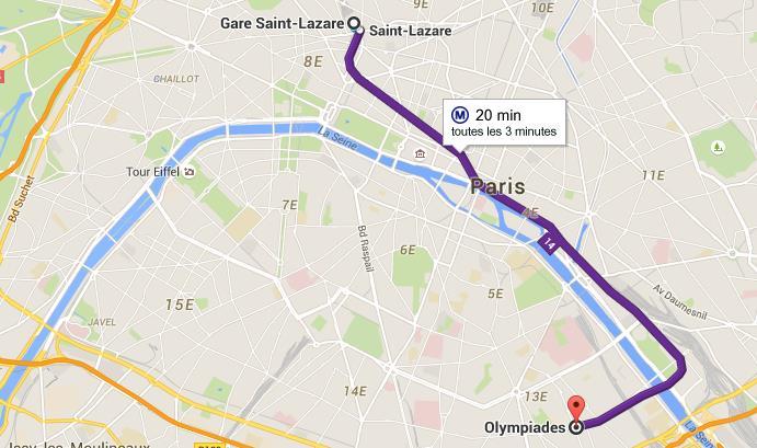 Carte Ligne 14 métro de Paris