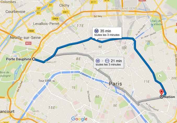 Carte Ligne 2 métro de Paris