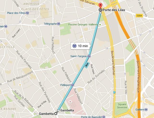 Carte ligne 3 bis métro de Paris