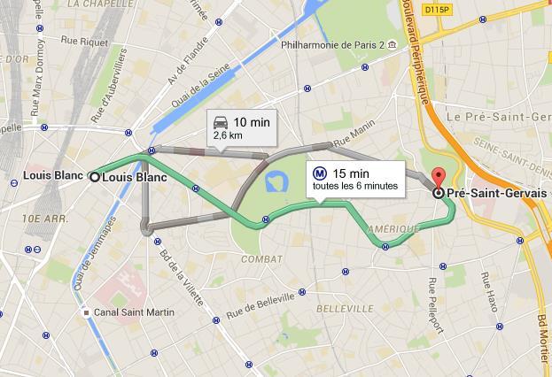 Carte Ligne 7bis métro de Paris
